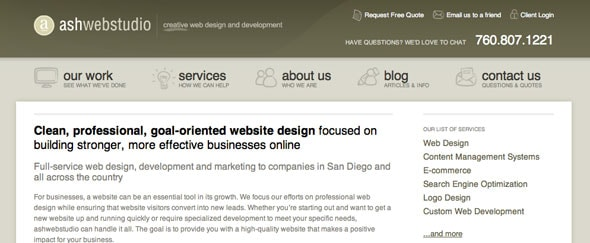 View Information about Ash Web Studio