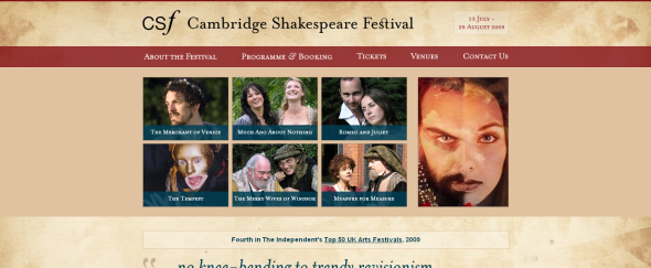View Information about The Cambridge Shakespeare Festival
