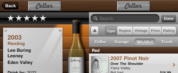 View Information about Cellar for iPhone
