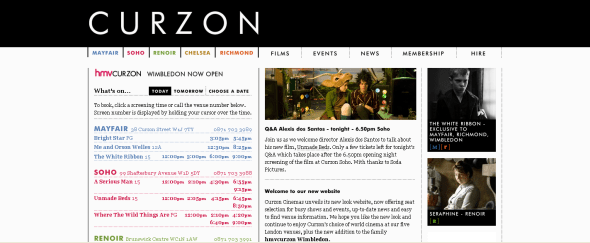 View Information about Curzon Cinemas