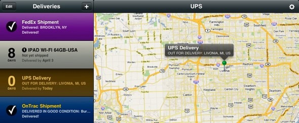 View Information about Delivery Status Touch for iPad