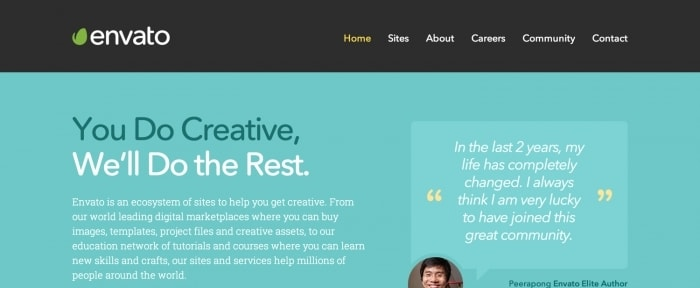 View Information about Envato Homepage