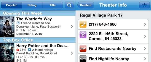 View Information about Flixster for iPhone