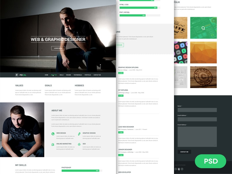 Go To Focal Resume PSD Theme