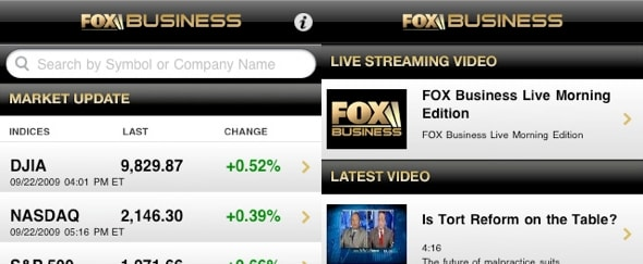 View Information about Fox Business for iPhone