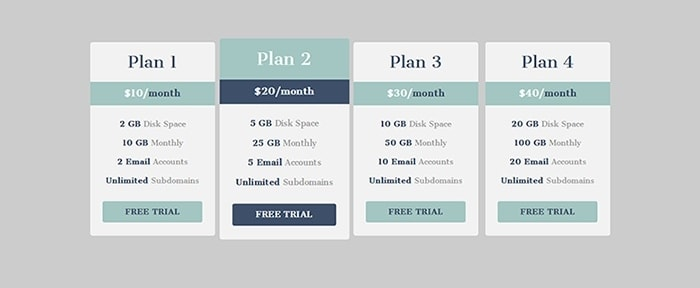 Go To HTML5 Responsive Pricing Table