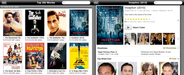 View Information about IMDB for iPad