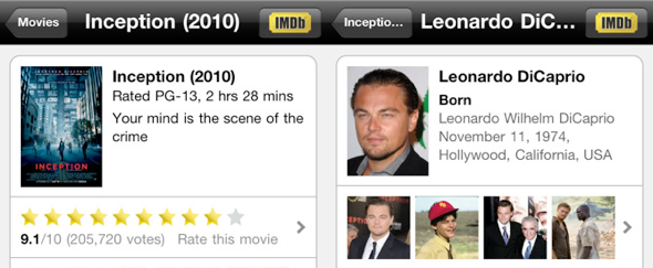 View Information about IMDB for iPhone