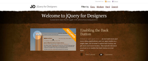 View Information about jQuery For Designers