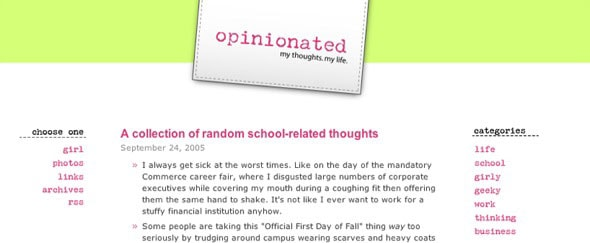 View Information about Opinionated