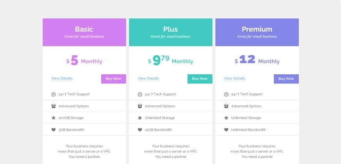 Go To Pricing Tables Mockup