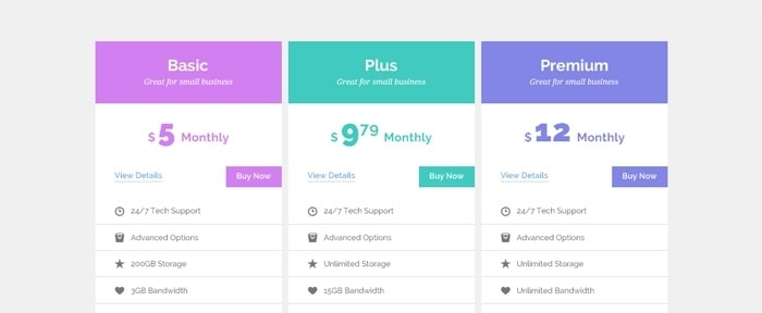 View Information about Pricing Tables Mockup