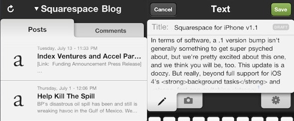View Information about Squarespace (iPhone)