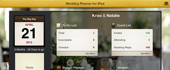 View Information about Wedding Planner for iPad