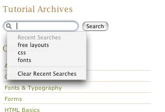 Search fields in Safari