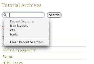 Search fields in Safari
