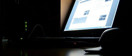 working at night - desk laptop
