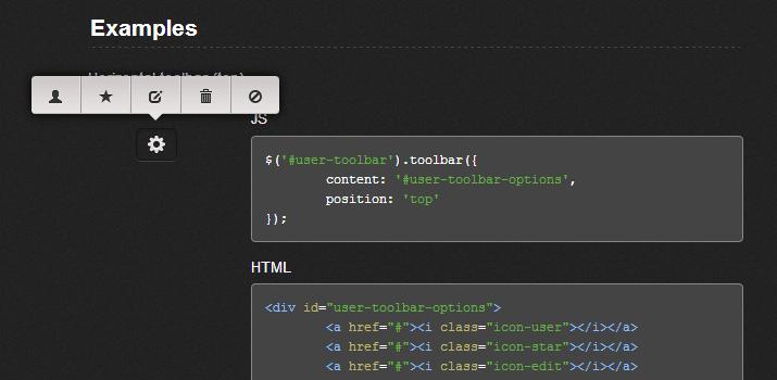 Toolbar.js plugin jquery open source javascript