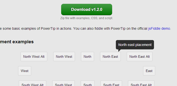 open source jquery powertip tooltips plugin