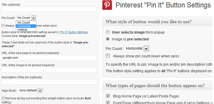 pinterest pinit button badges wordpress open source