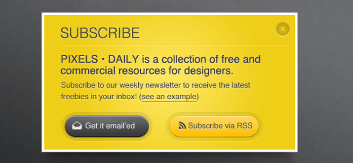 yellow email subscription box freebie download