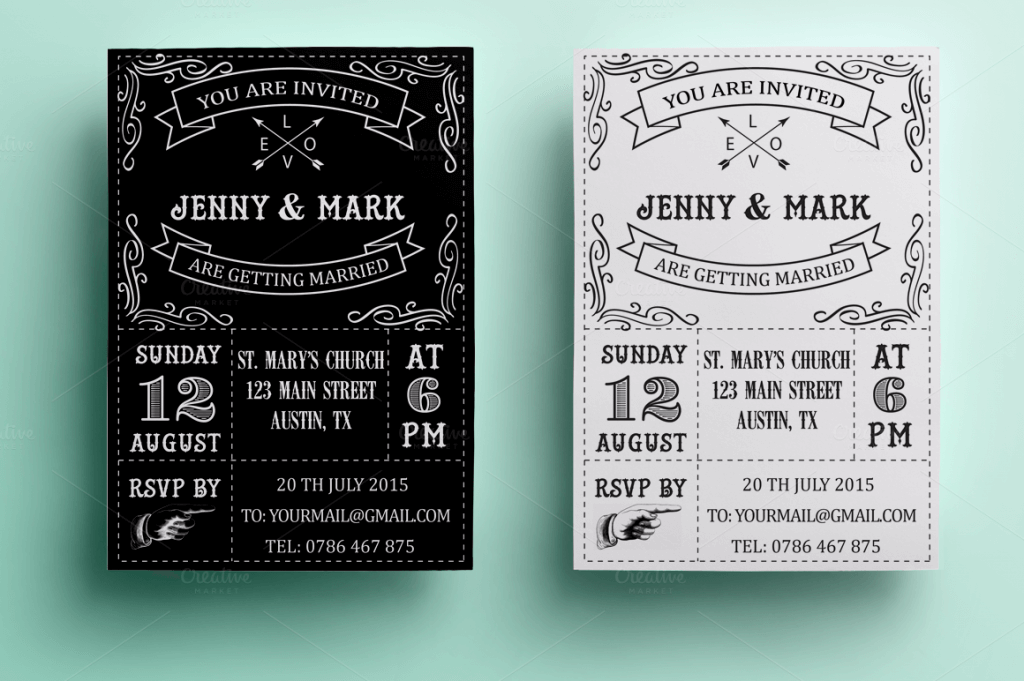90 gorgeous wedding invitation templates design shack a retro black and white wedding invitation template with fully editable psd photoshop files stopboris Images