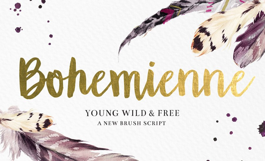 Bohemienne us a fun and flirty hand-drawn brush script. It's tousled ...