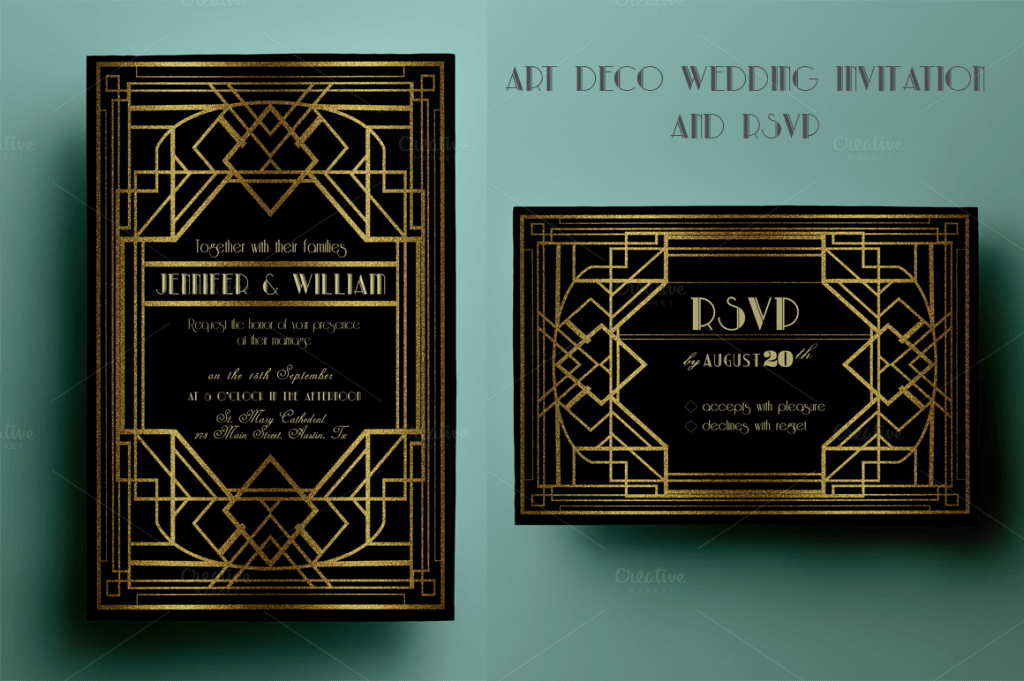 90 gorgeous wedding invitation templates design shack art deco wedding invitation and rsvp stopboris Image collections