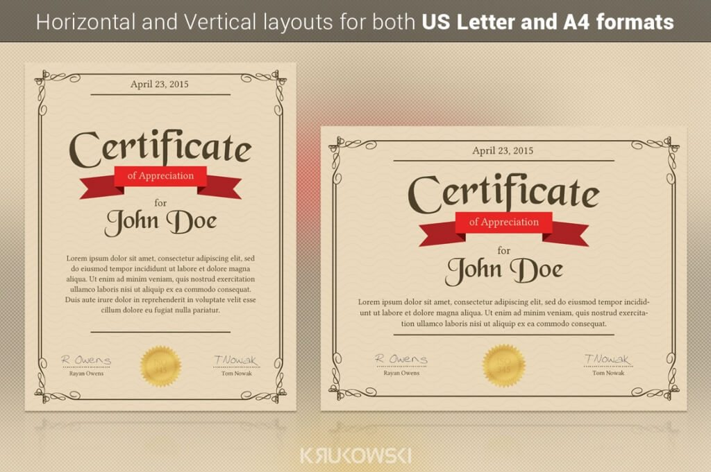 80 modern stationery templates design shack an appreciation certificate print ready template great for a certificate diploma or award for your employees or students prepared in both horizontal and yadclub Images