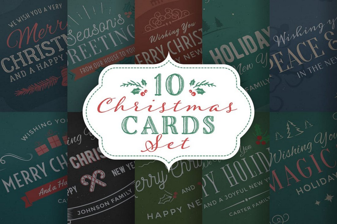 10-Christmas-Cards-Backgrounds-Set 20+ Best Christmas Card Templates for Photoshop design tips