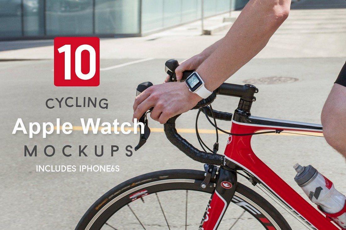 10-Cycling-Apple-Watch-Mockups 50+ Apple Watch Mockups & Graphics design tips