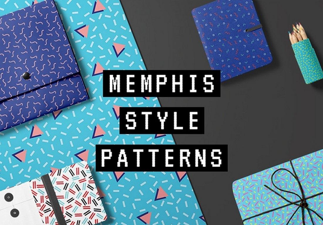 10 Free Memphis Seamless Patterns