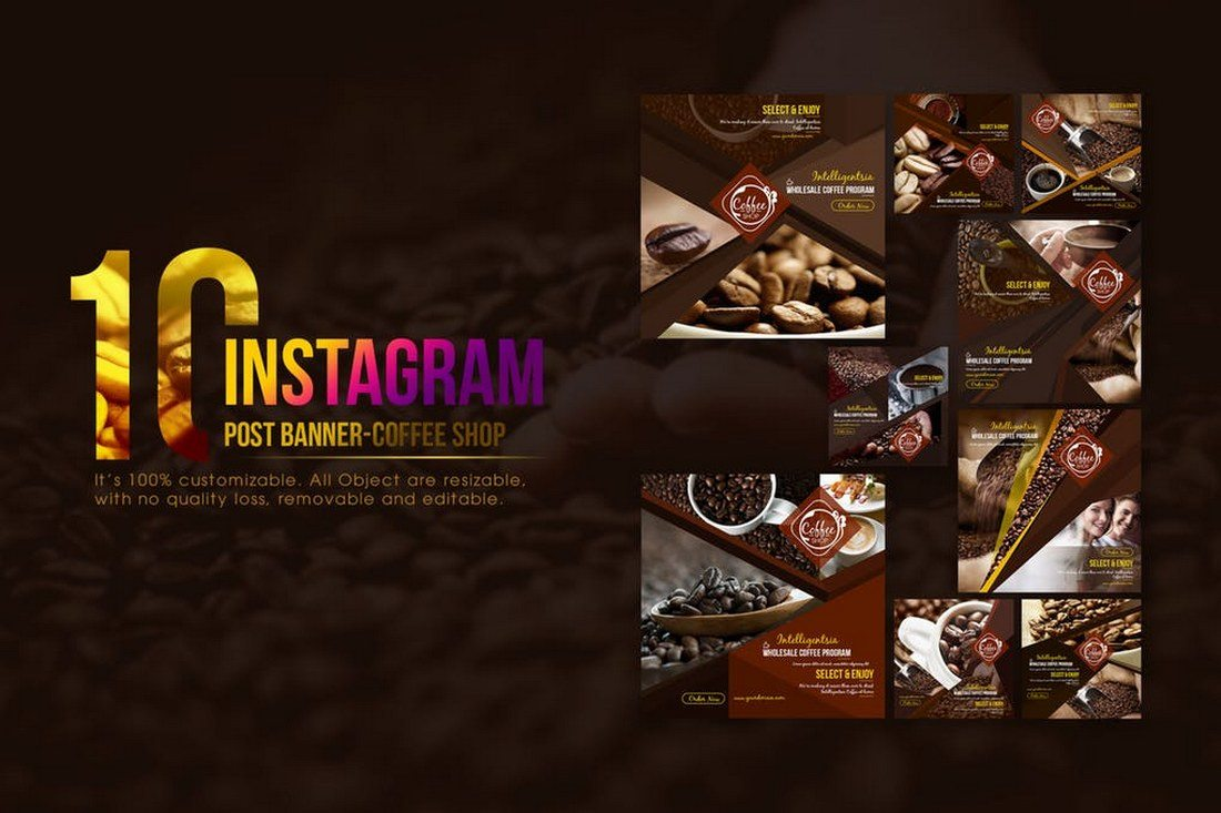 10-Instagram-Post-Banner-for-Coffee-Shop 30+ Best Instagram Templates & Banners design tips