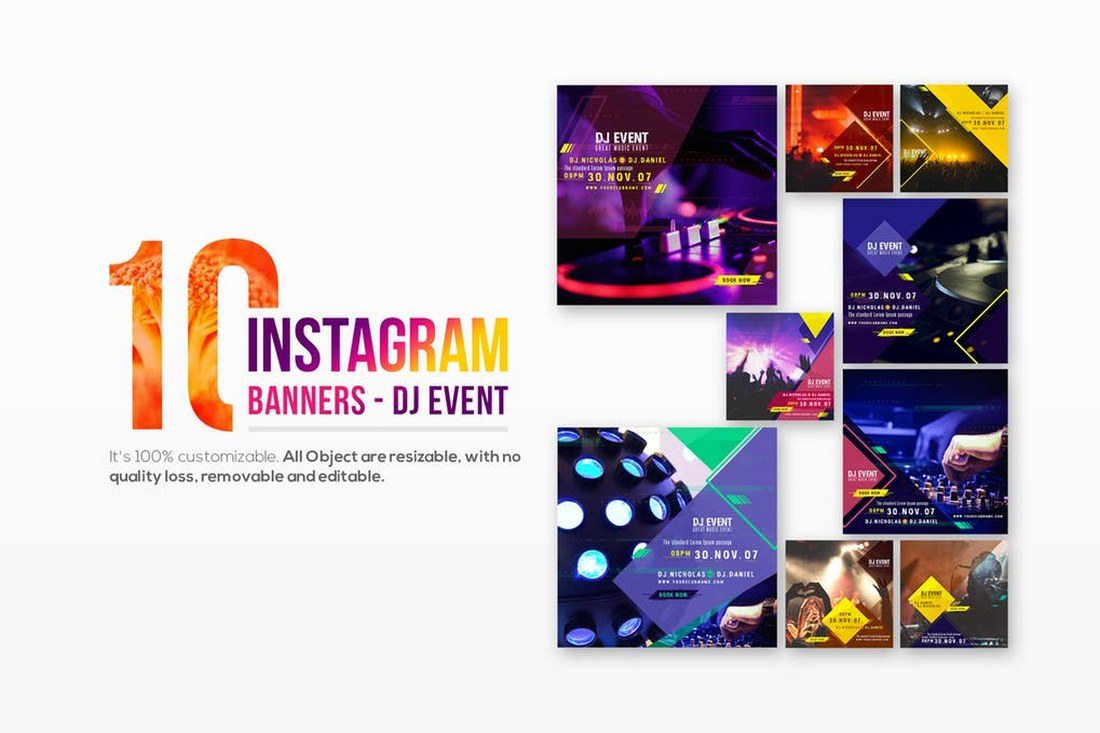 10-Instagram-Post-Banners-for-DJ-Event 30+ Best Instagram Templates & Banners design tips