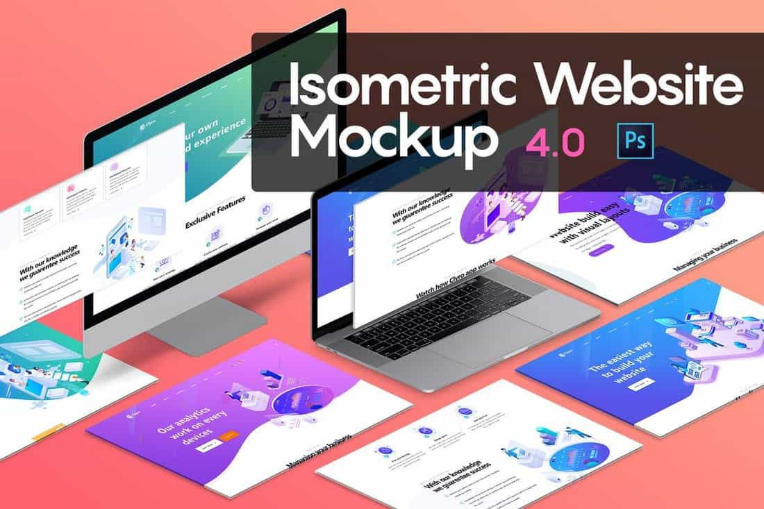 10 Isometric Website Mockup Templates