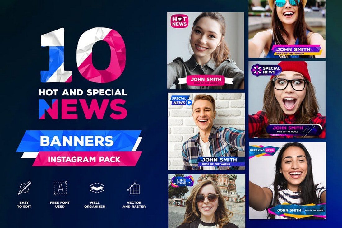 10-News-Style-Instagram-banner-pack 30+ Best Instagram Templates & Banners design tips