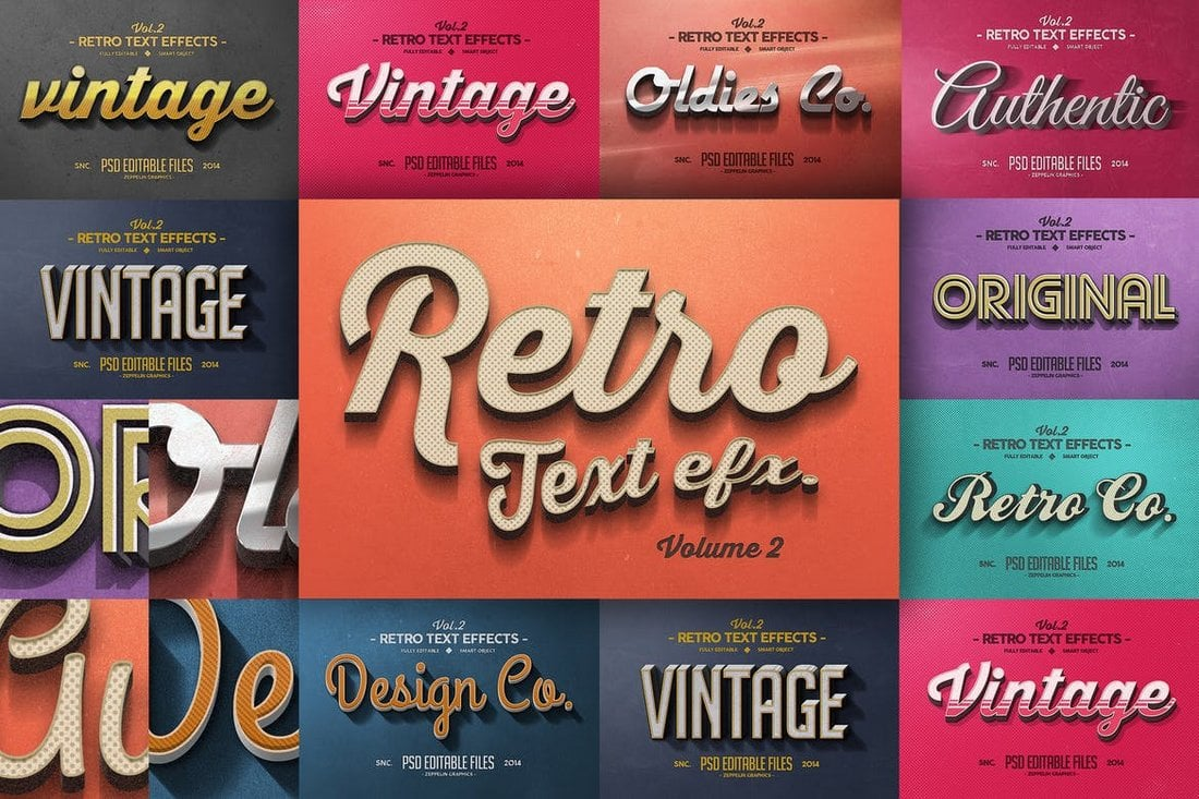 10 Vintage & Retro Text Effects