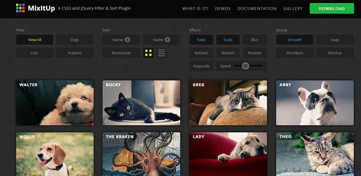 jquery css3 image sorting portfolio gallery listing plugin