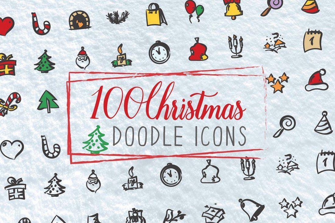 100-Christmas-Doodle-Icons 70+ Christmas Mockups, Icons, Graphics & Resources design tips