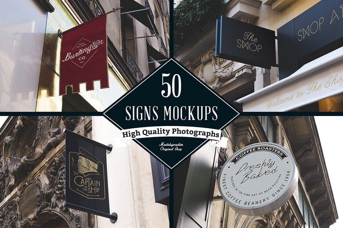 100-Signs-Facades-Mockups 40+ Stunning Vintage Mockup Packs & Graphics design tips