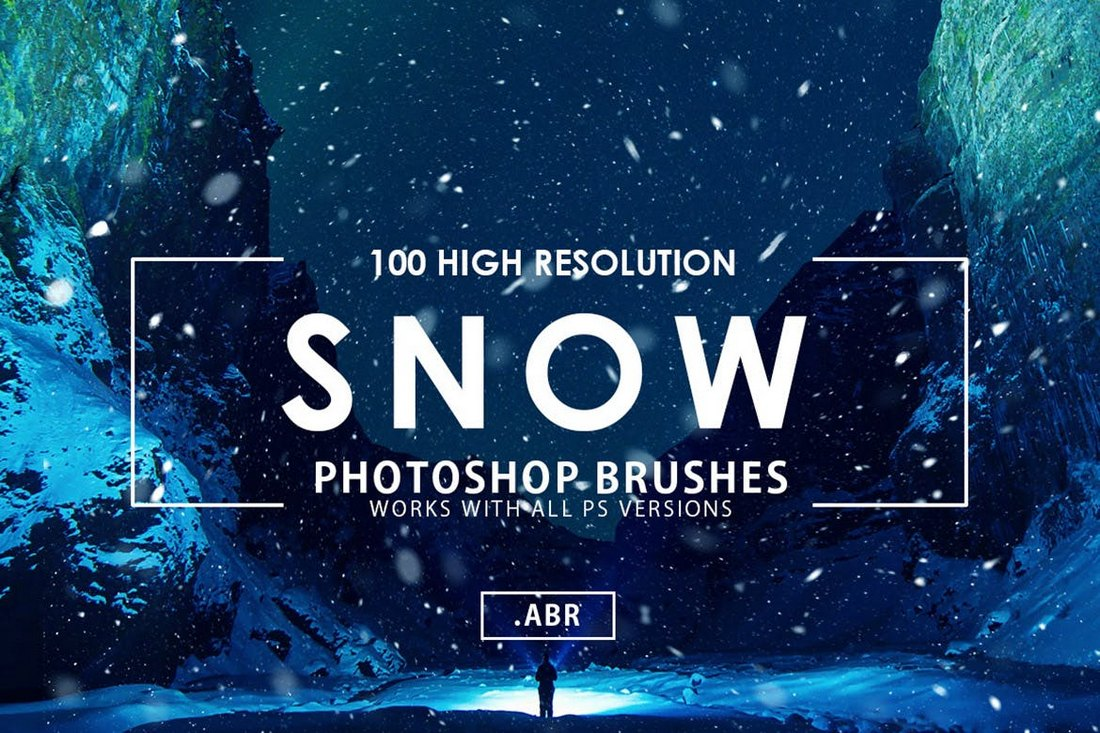 100-Snow-Photoshop-Brushes 15+ Christmas Photoshop Brushes, Actions & Text Effects design tips