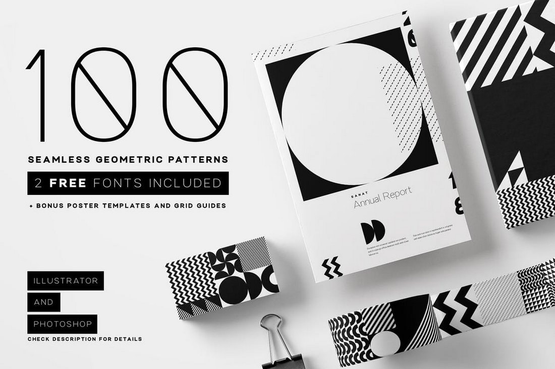 100 seamless geometric patterns