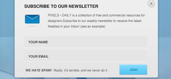 signup popover window modal design freebie download