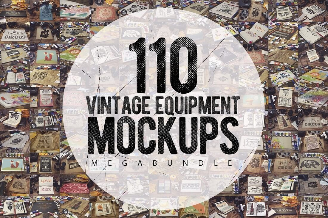 110-Vintage-Mockups-MEGA-Bundle 40+ Stunning Vintage Mockup Packs & Graphics design tips