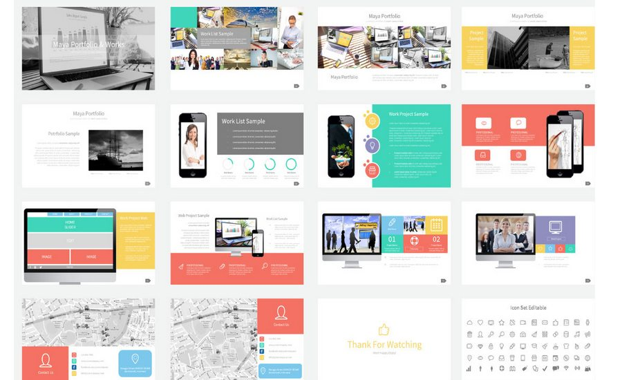 60 beautiful premium powerpoint presentation templates design shack maya multipurpose business powerpoint template is impressive tool for presenting your company and your works the current presentation enables its owners to toneelgroepblik Gallery