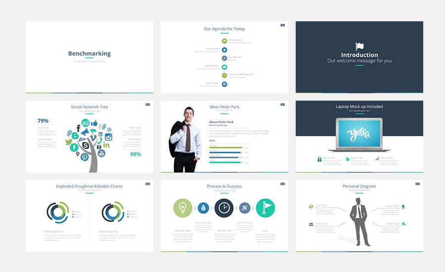 benchmarking powerpoint template is a new fresh modern clean professional ready to go presentation this presentation includes 350 icons as shapes