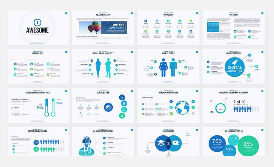 awesome ultimate powerpoint template is a professional clean and creative presentation to show your business all elements are fully editable from a shape