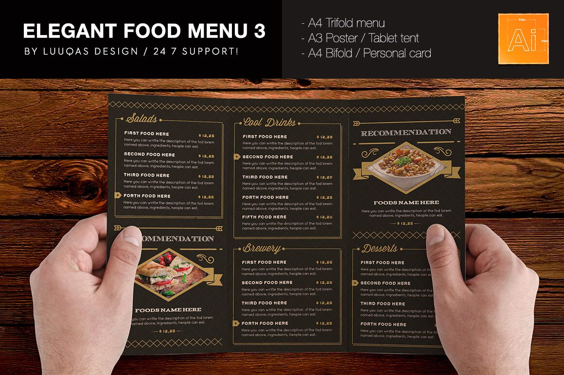 Best Food Drink Menu Templates Design Shack - Folded menu template