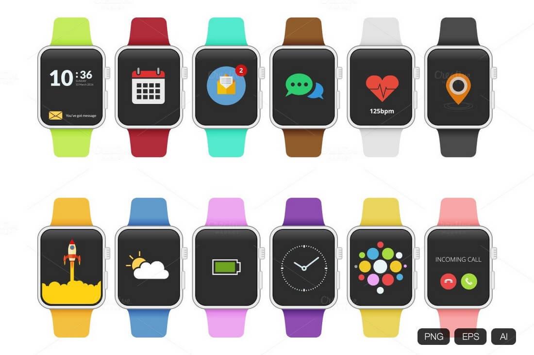 12-Apple-Watch-Flat-Design 50+ Apple Watch Mockups & Graphics design tips