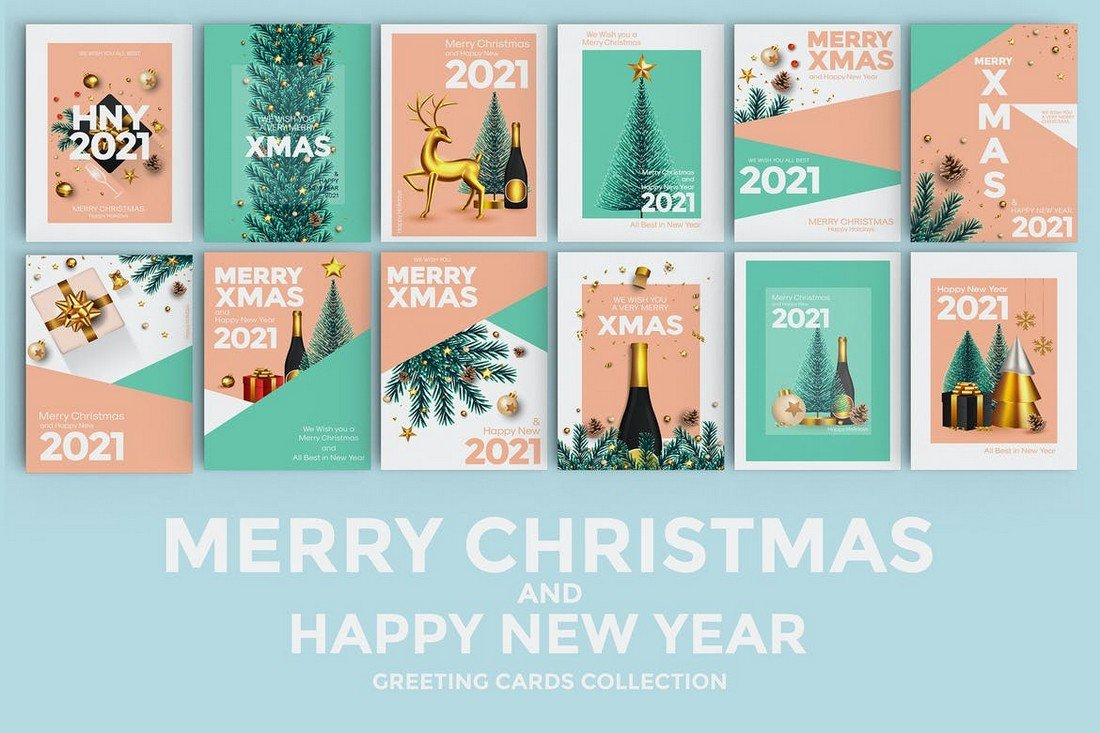 12 Christmas & Happy New Year Card Templates